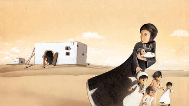 Syrian refugee illustration