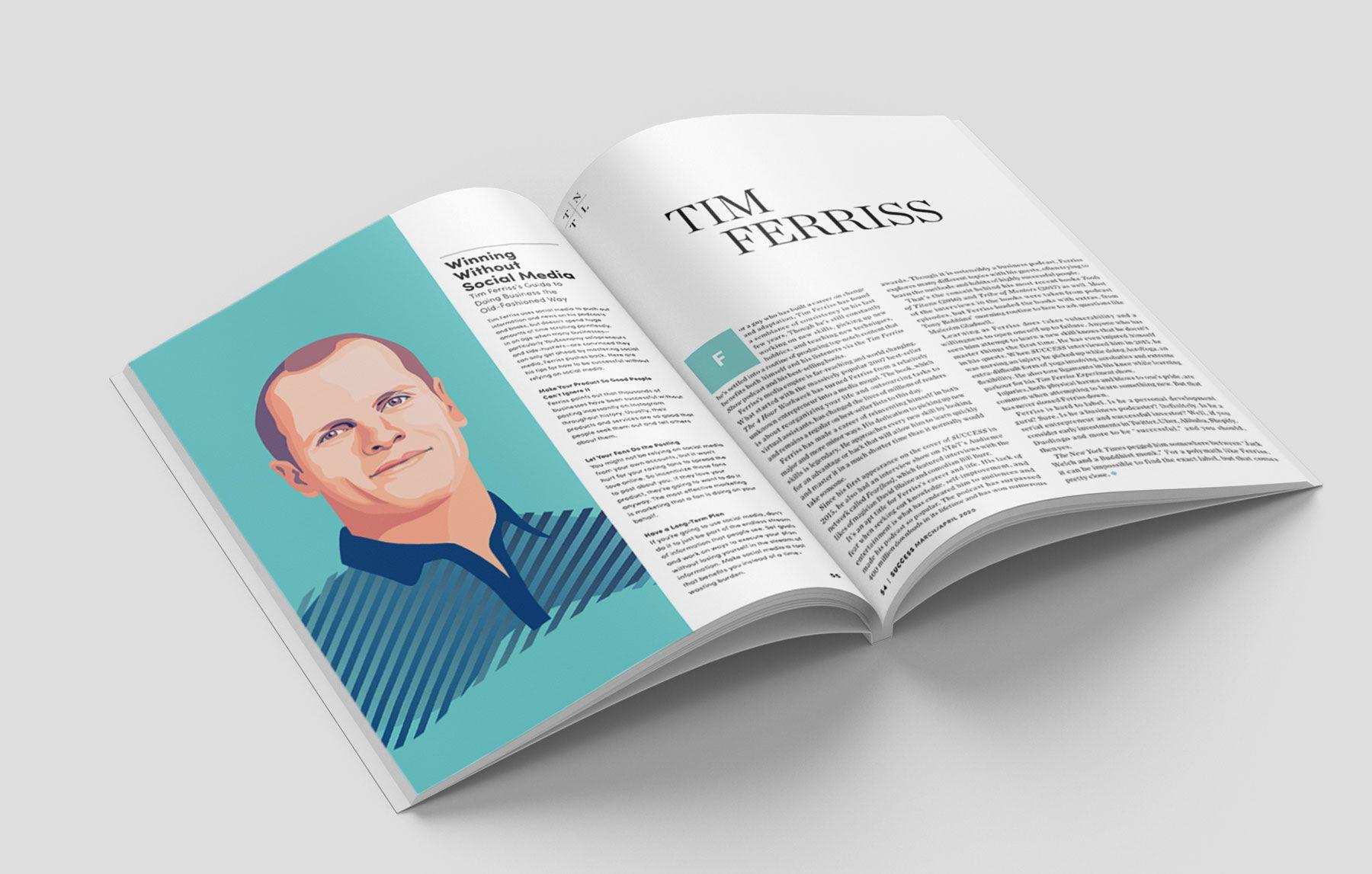 Portrait illustration Tim Ferris success magazine