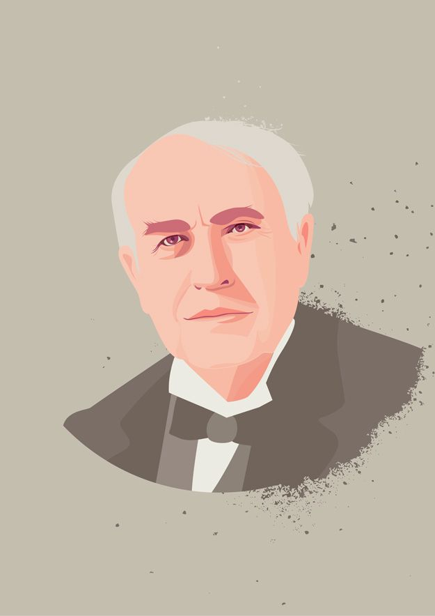 Thomas Edison portrait illustration by Hanane Kai