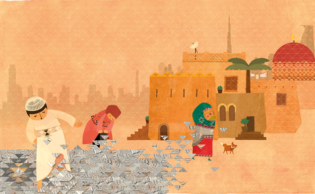 Children book illustration using newspaper