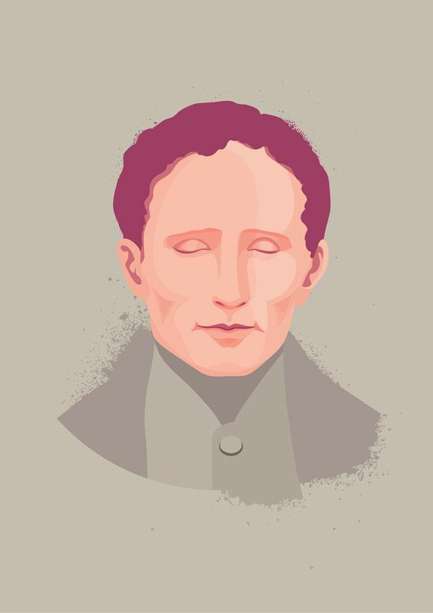Louis Braille portrait illustration by Hanane Kai