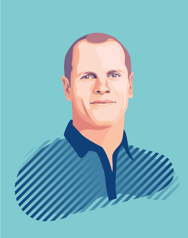 Portrait illustration Tim Ferris