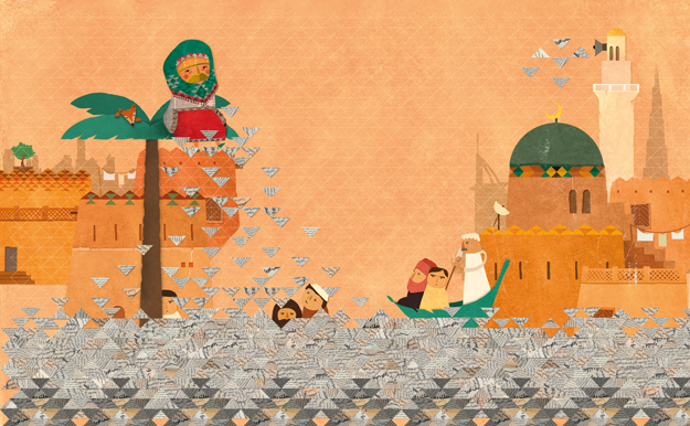children book illustration emirate culture using newspaper