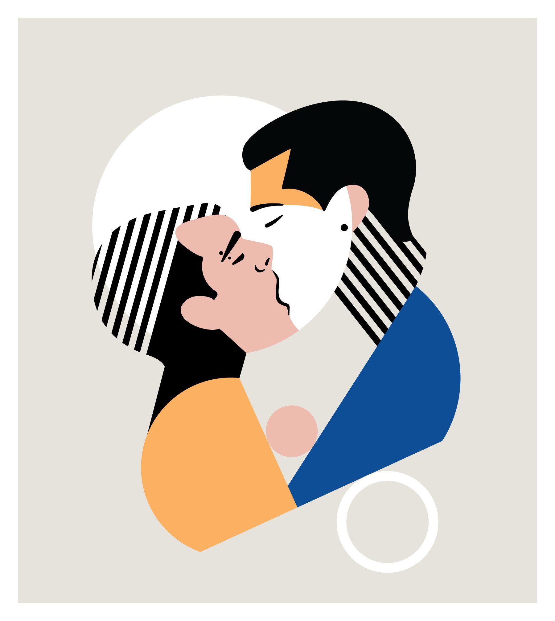 Gay kissing illustration celebrating pride month LGBT