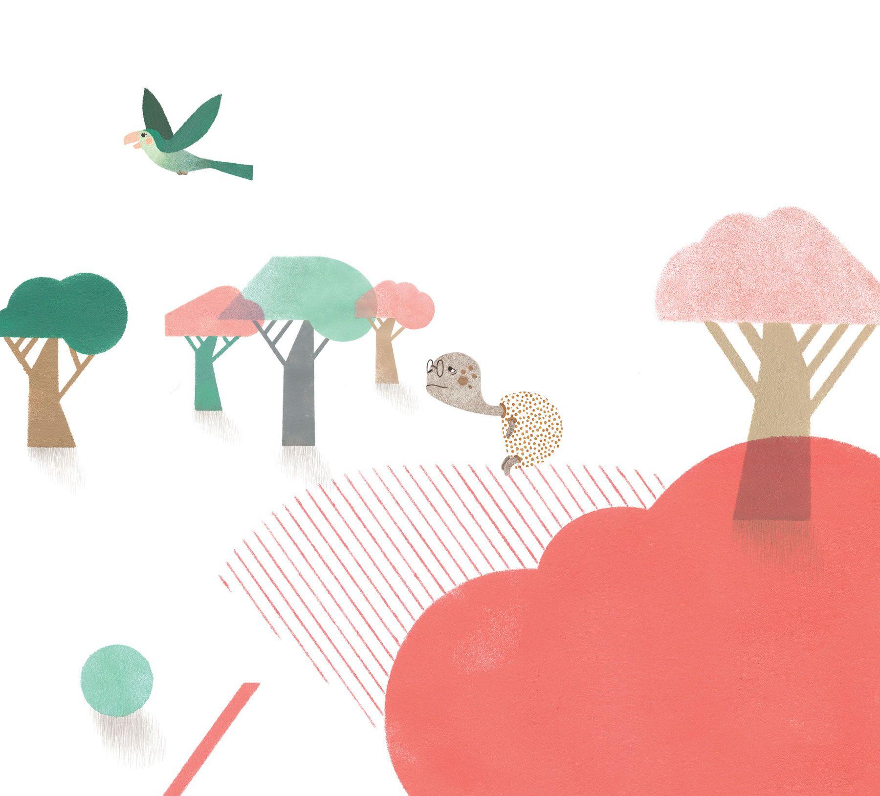 Children's book illustration rabbit and turtle