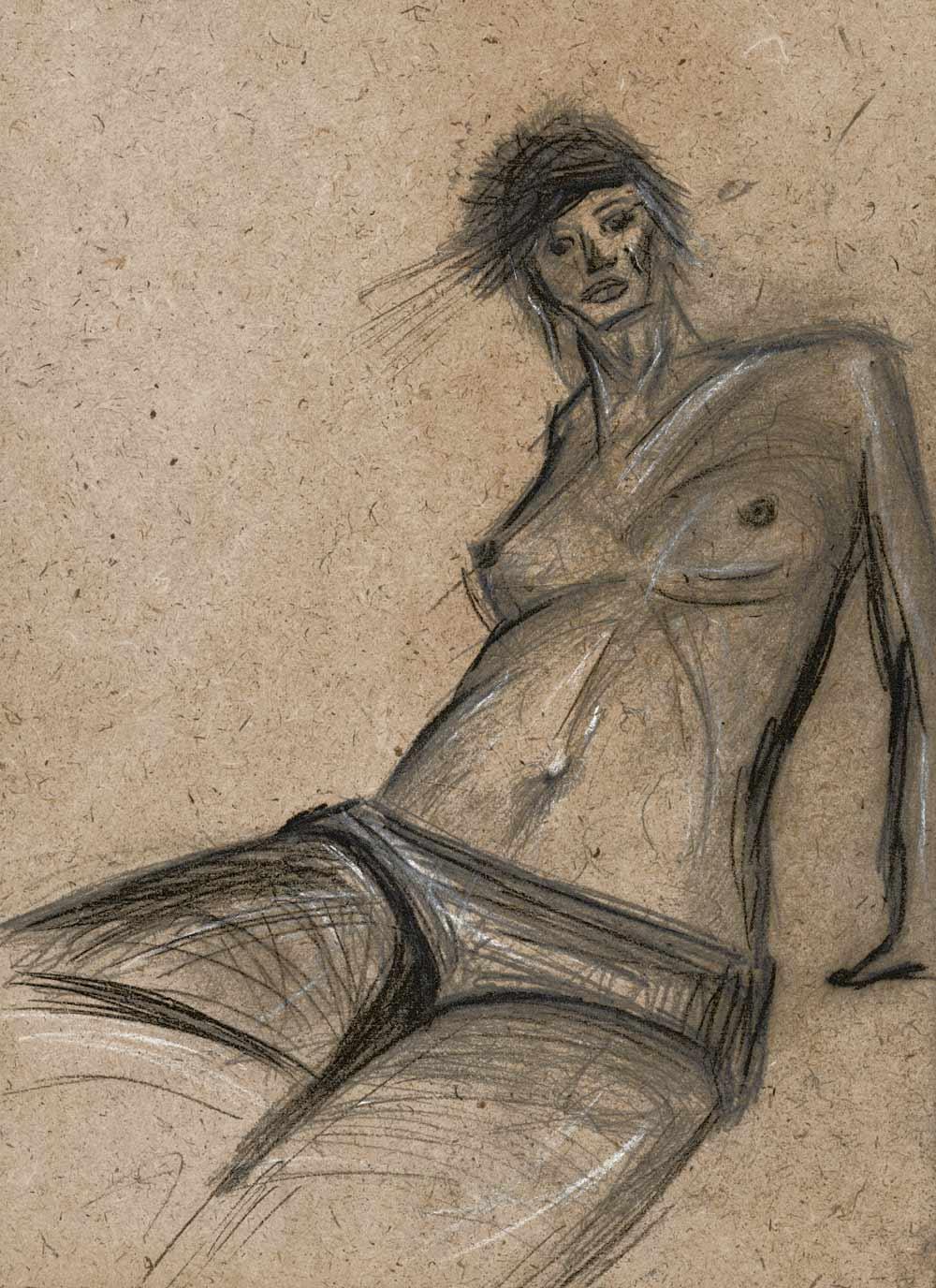 conté drawing by hanane kai