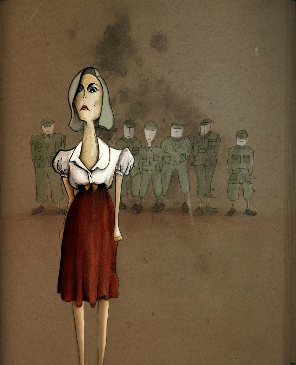 woman with soldiers character illustration
