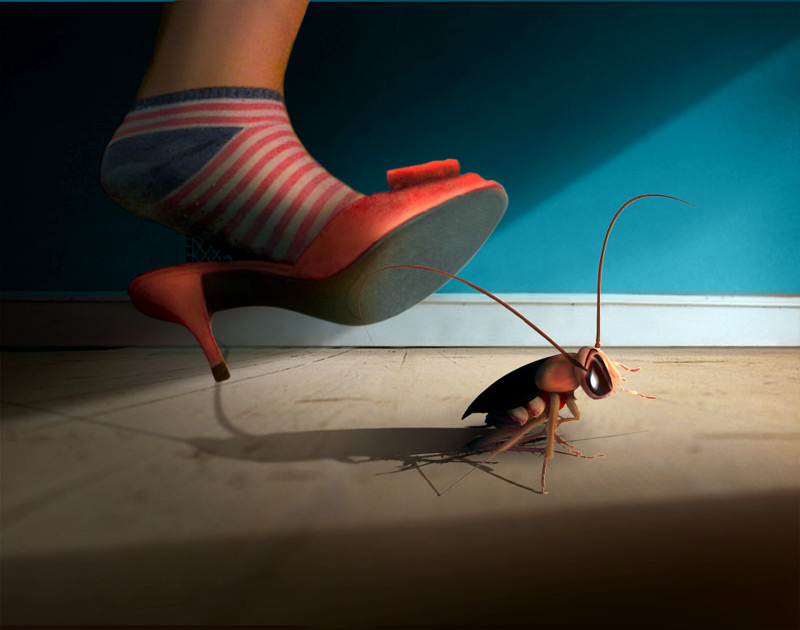 killing cockroach photomontage